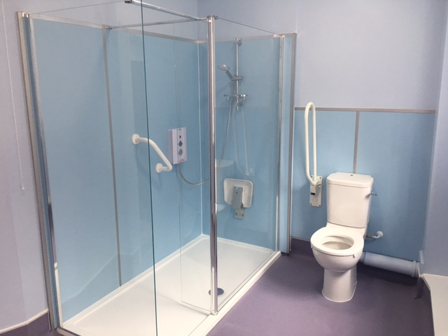 Disabled shower room created from communal toilets for Mendip YMCA